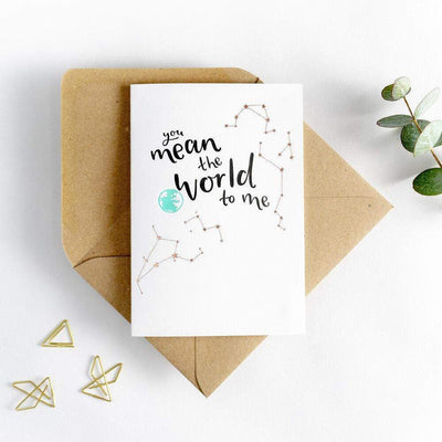 you mean the world to me recycled coffee cup card
