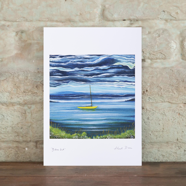 sea snail studio a4 yellow boat print