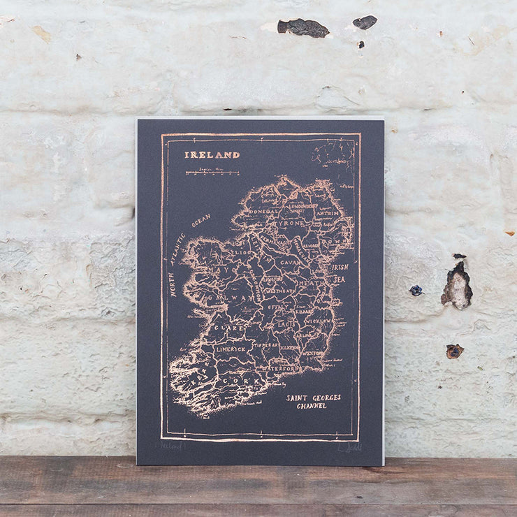 navy rose gold ireland map