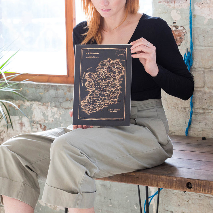 rose gold ireland map print