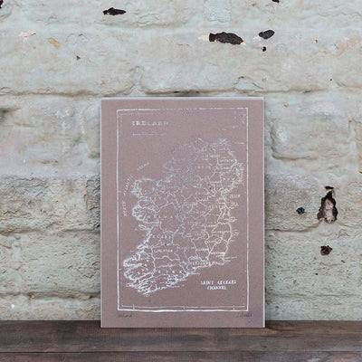 Map of Ireland Print (Silver)
