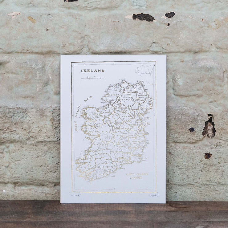 Map of Ireland Print (Gold)