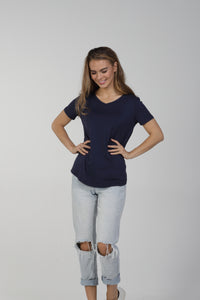 Classic Fit V Neck Bamboo Tee - Navy