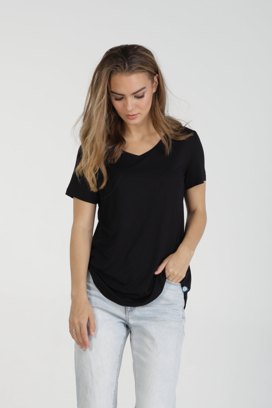 Classic Fit V Neck Bamboo Tee - Black