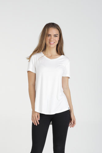 Classic Fit V Neck Bamboo Tee - White