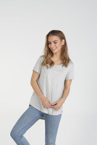 Classic Fit V Neck Bamboo Tee - Grey