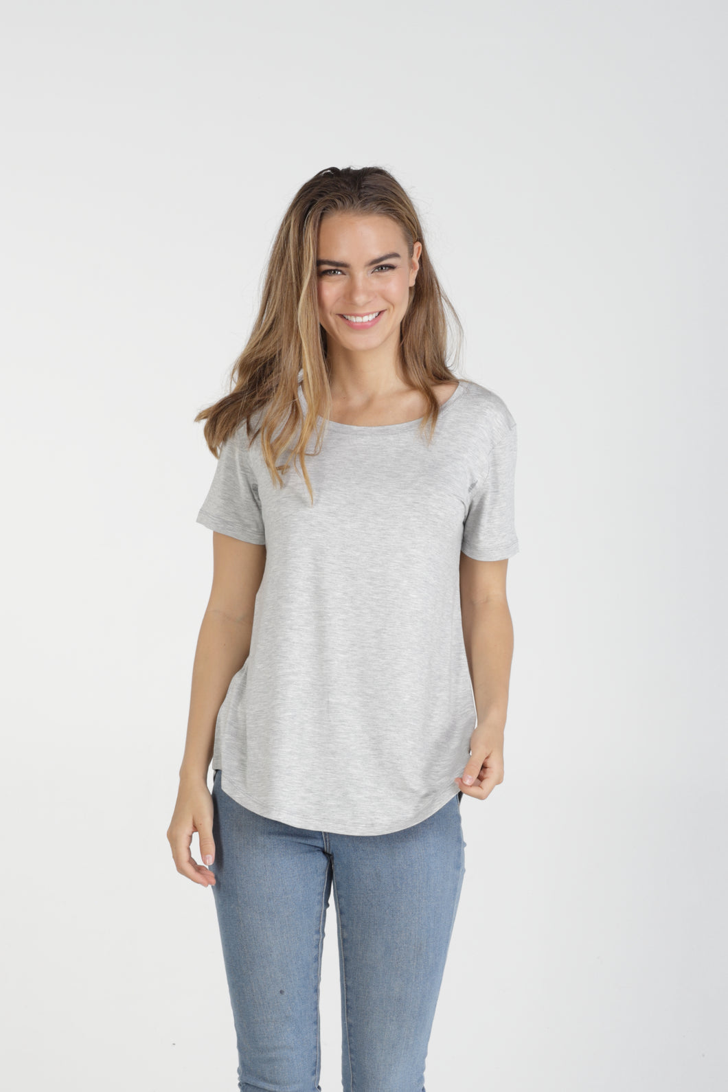 Classic Fit Crew Neck Bamboo Tee - Grey