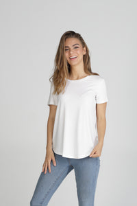 Classic Fit Crew Neck Bamboo Tee - White
