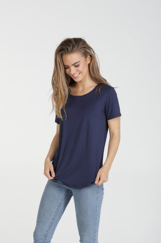 Classic Fit Crew Neck Bamboo Tee - Navy