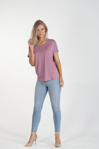 Relaxed Fit Batwing Bamboo Tee - Blush