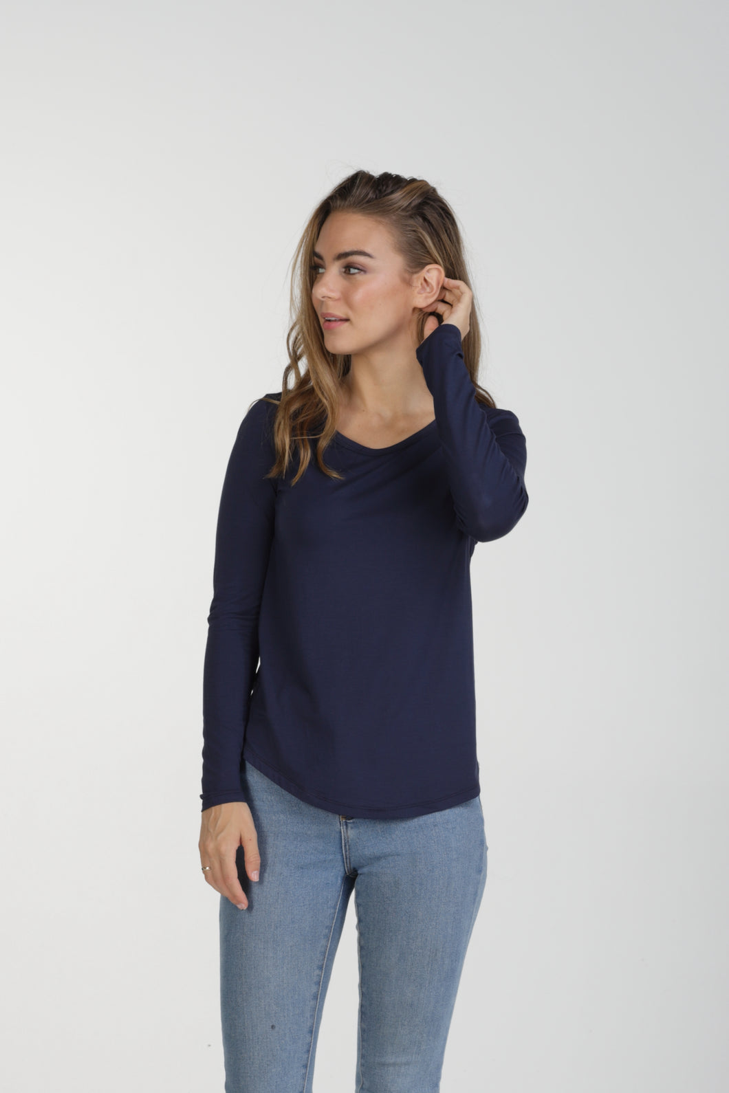 Classic Fit Bamboo Long Sleeve - Navy
