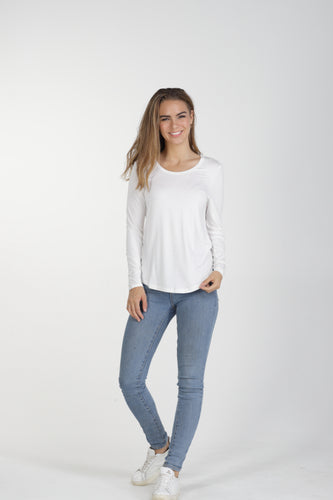 Classic Crew Bamboo Long Sleeve - White