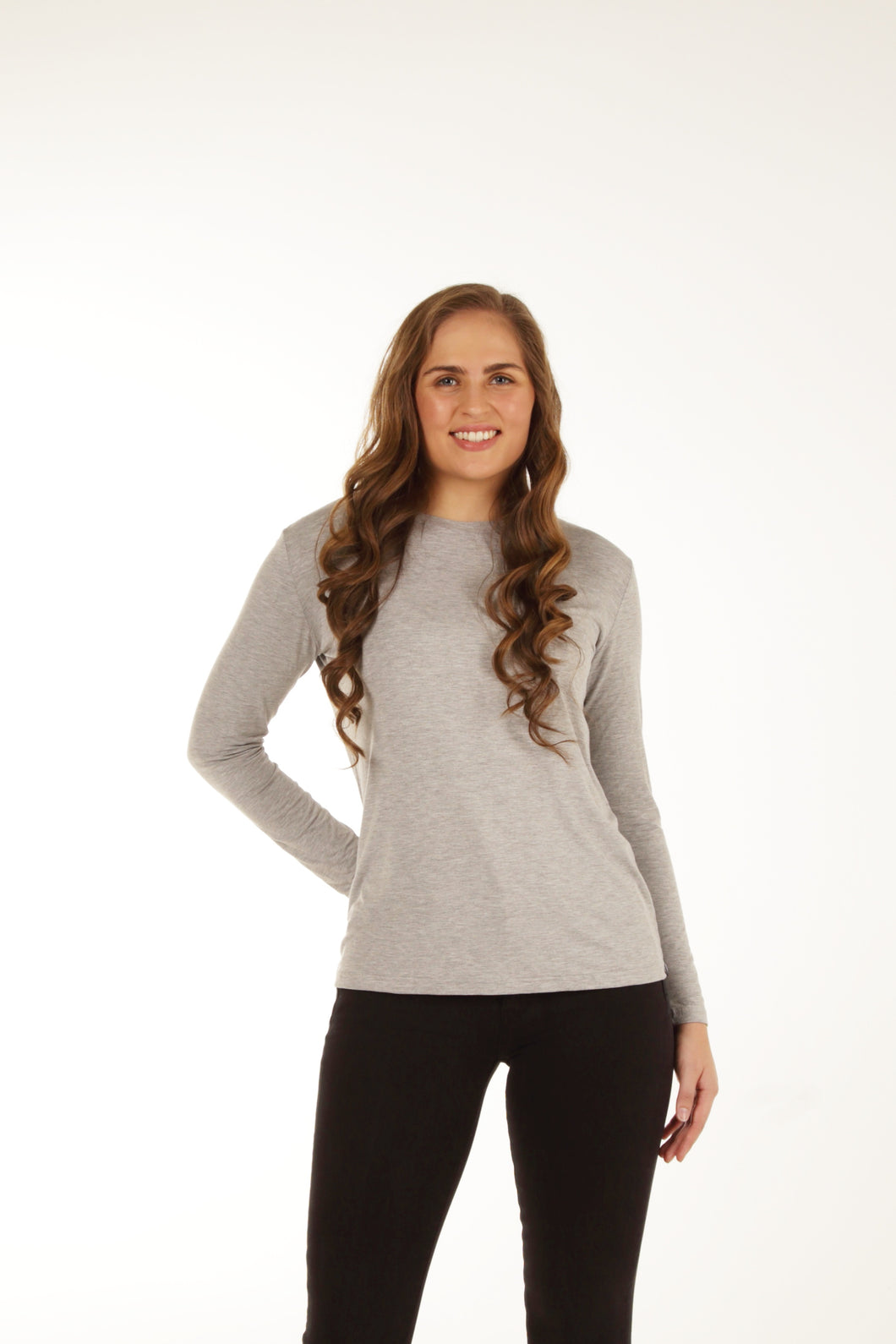 Relaxed Fit Bamboo Long Sleeve - Grey