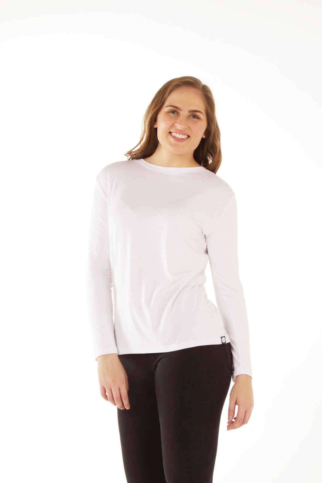 Relaxed Fit Bamboo Long Sleeve - White