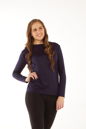Relaxed Fit Bamboo Long Sleeve - Navy