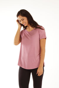 Classic Fit V Neck Bamboo Tee - Blush