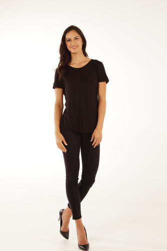 Classic Fit Crew Neck Bamboo Tee - Black