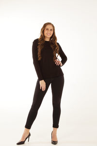 Relaxed Fit Bamboo Long Sleeve - Black