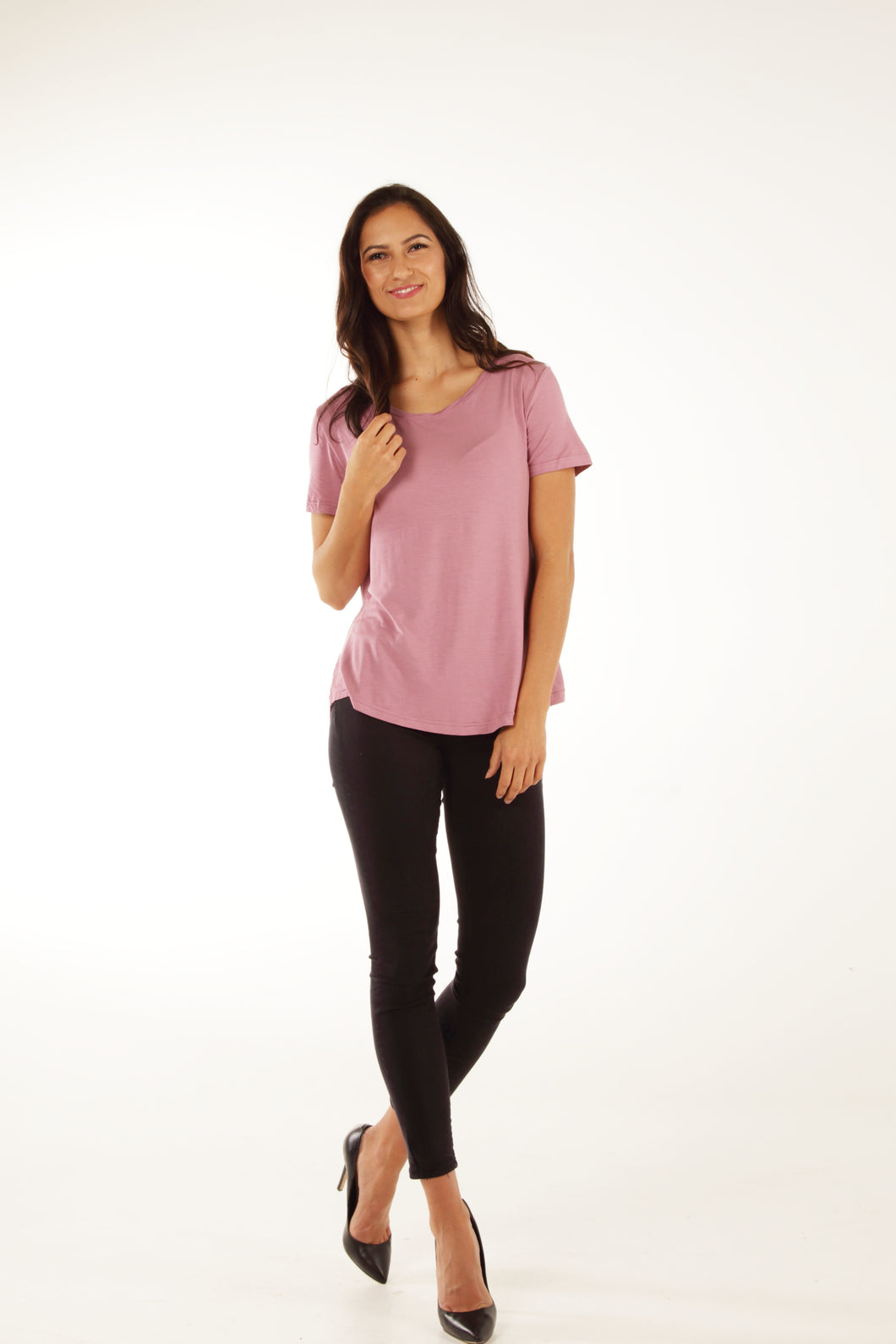 Classic Fit Crew Neck Bamboo Tee - Blush