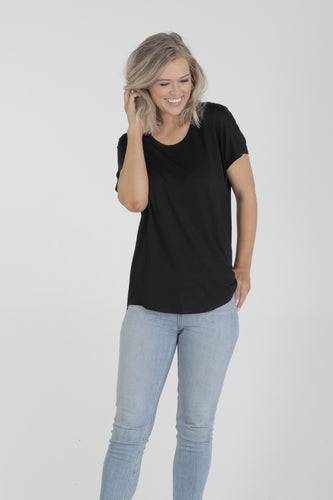 Relaxed Fit Batwing Bamboo Tee - Black