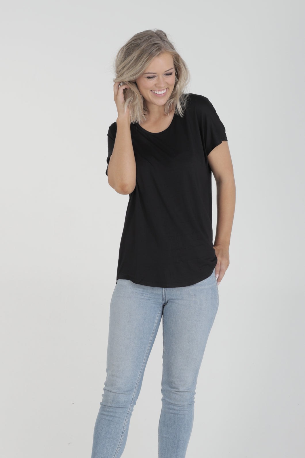 Relaxed Fit Batwing Bamboo Tee - Black (MkII)