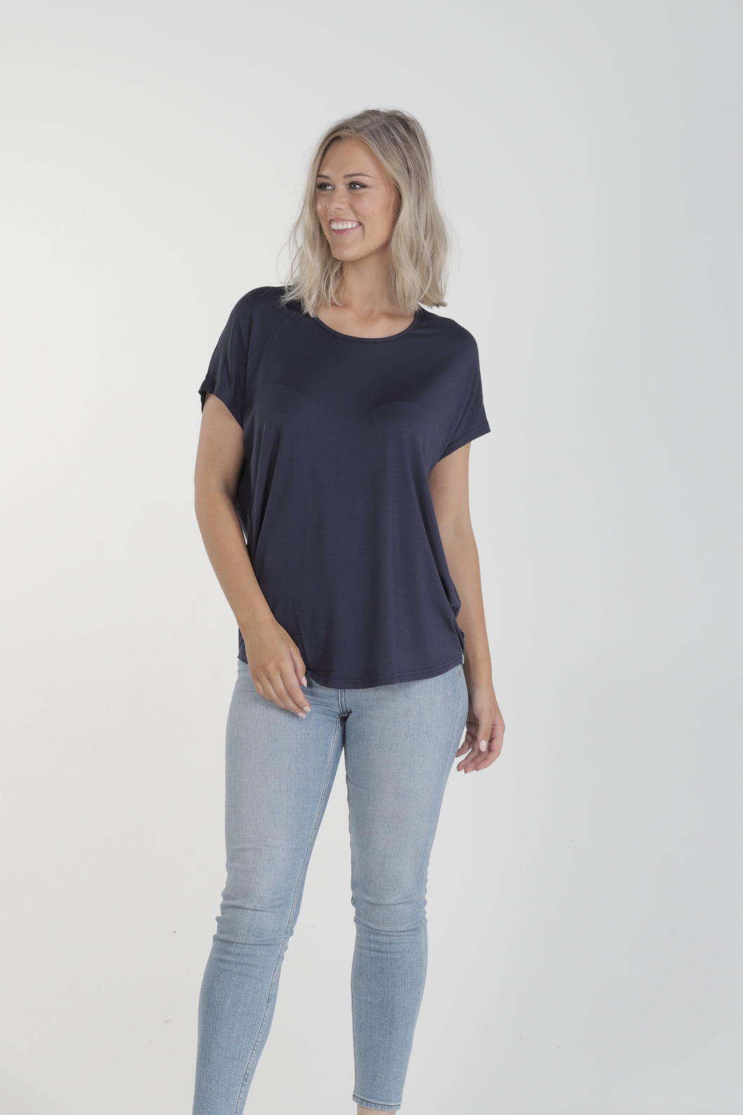 Relaxed Fit Batwing Bamboo Tee - Navy