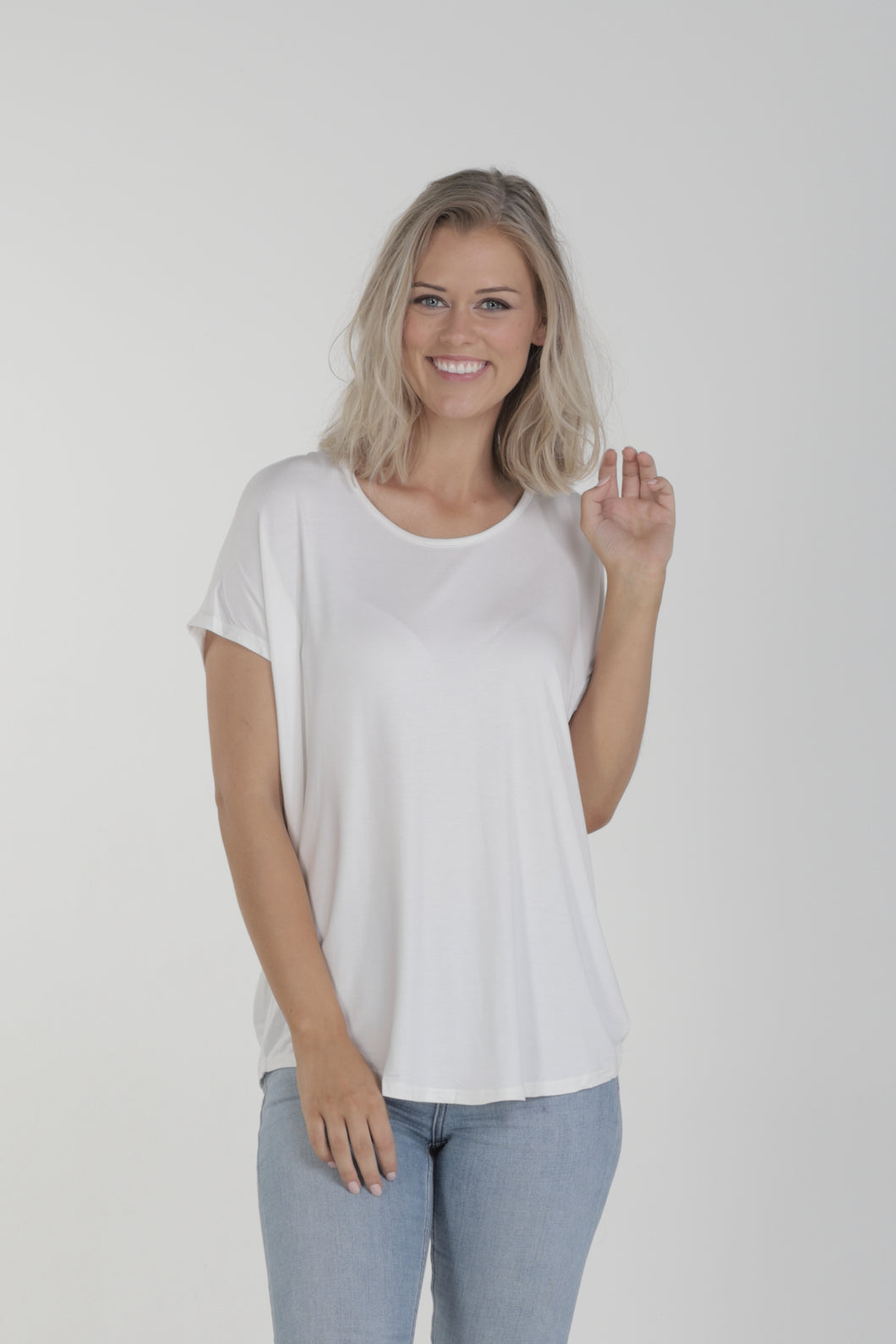 Relaxed Fit Batwing Bamboo Tee - White