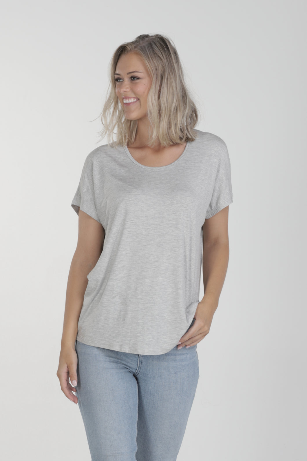 Relaxed Fit Batwing Bamboo Tee - Grey