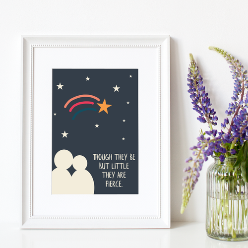 Shooting Star Print | Shakespeare 'Fierce' Quote Print | Rainbow Print | Literary Print | A4 Wall Art