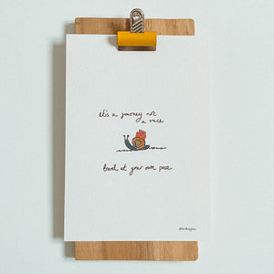 It's a Journey Not a Race, Travel at Your Own Pace Print | Snail Pace A5 Print | Inspiration Gift | Little Big Doodles