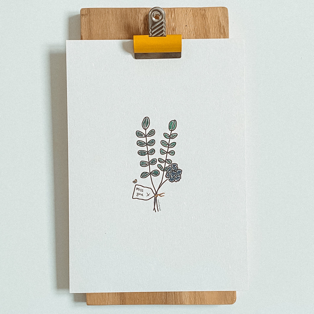 Miss You Flowers A5 Print | Flower Print | Missing you | Little Big Doodles