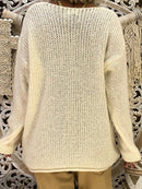 Solid Paneled Casual Deep V-Neck Sweater