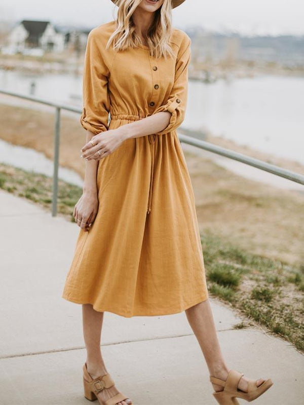 3/4 Sleeve Rope Belt Button Dress