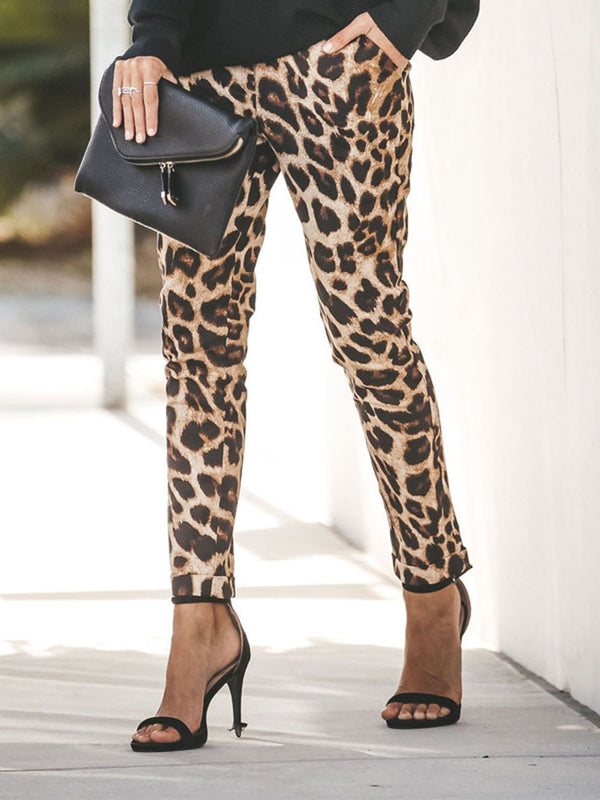 Brown Cotton-Blend Vintage Leopard Print Pants