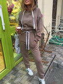 2 Pcs Set Cotton-Blend Casual Long Sleeve Jumpsuits Hoodies Pants Suit