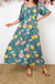 Margherita Maxi Dress In Green With Mustard Floral