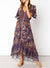 Lace Trim Button Front Floral Maxi Dress
