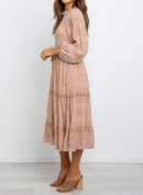 Polka Dot Print Ruffled Midi Dress In Nude