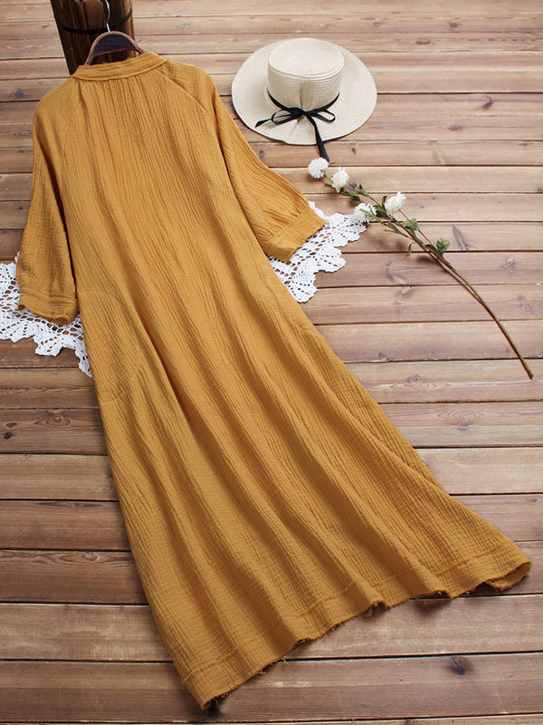 Vintage V Neck Solid Color 3/4 Sleeve Dress