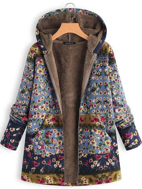 Patchwork Hoodie Casual Quilted Coat