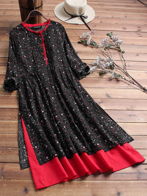 Vintage Print Floral Lace Fake Two Pieces Dress
