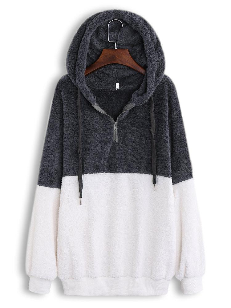 Fleece Patchwork Long Sleeve Casual Hoodie