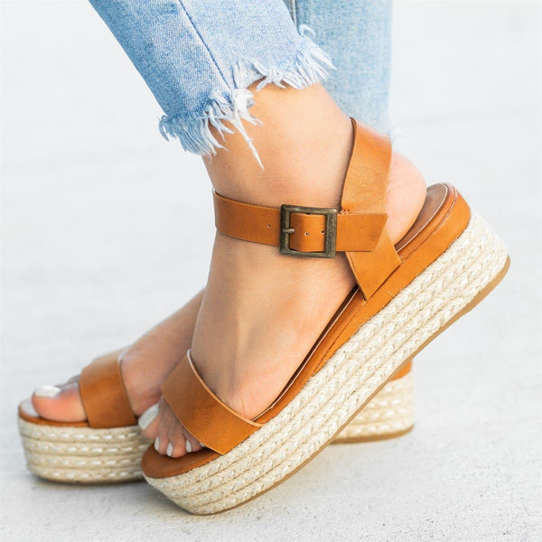 Chic Espadrille Platform Sandals Buckle Strap Pu Sandals
