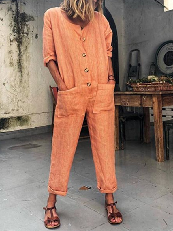 Orange Buttoned Solid Casual Long Sleeve Jumpsuits