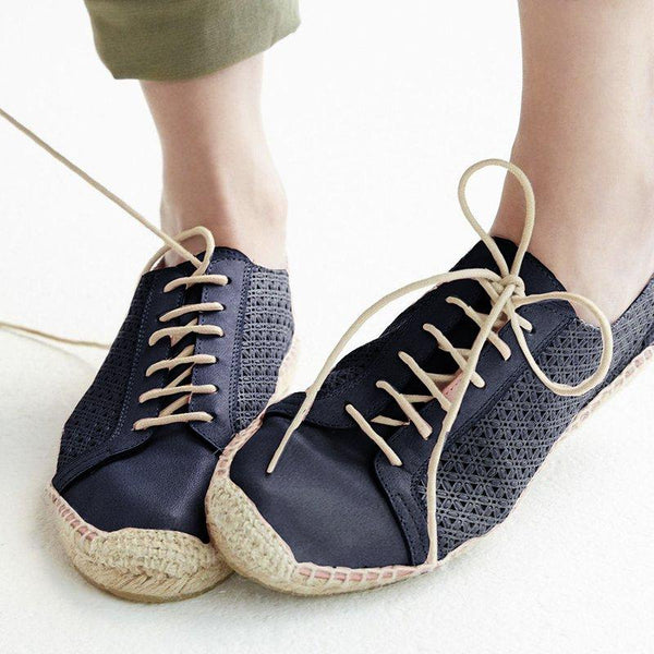 Perforated Espadrille Sneakers Pu Hollow-Out Summer Sneakers