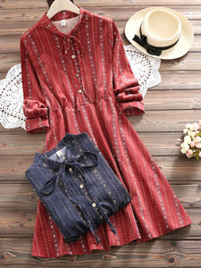 3 Colors Crew Neck Sweet Dress