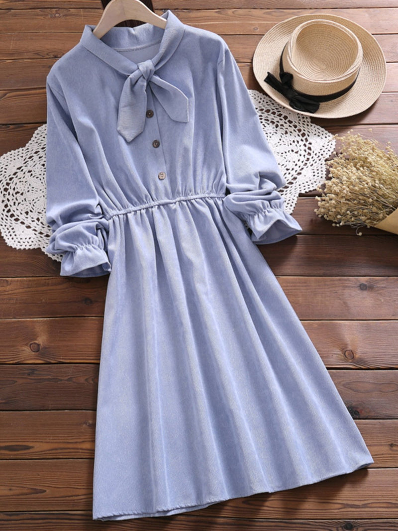 Long Sleeve Buttoned Solid Dress