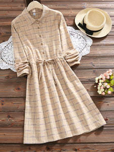 5 Colors Long Sleeve Shirt Collar Plaid Dress