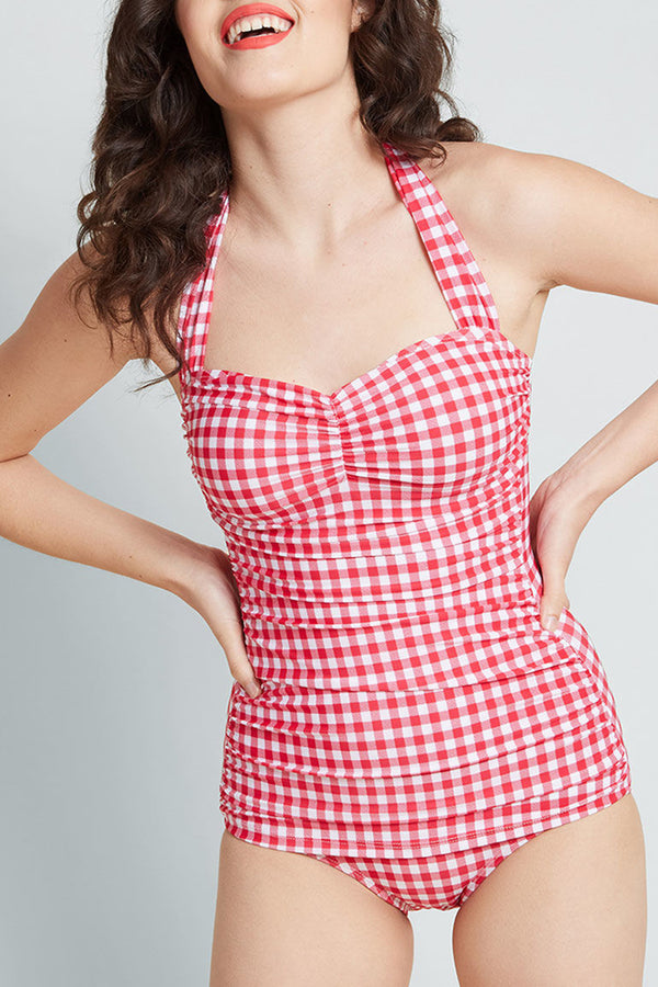 4e63a7a24c ... Red Gingham Print Bathing Beauty One-Piece Swimsuit