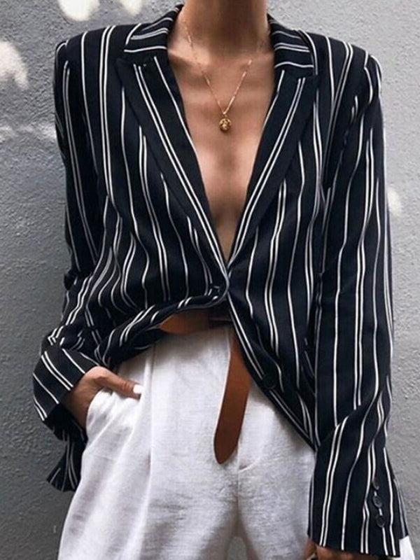 Sexy Striped Printed Casual Shirt Collar Blouses